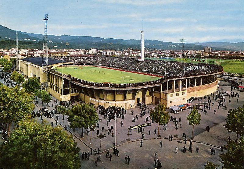 Lo Stadio Franchi di Firenze nel 1960