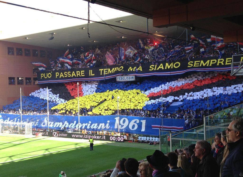 Coreografia dei tifosi della Sampdoria nel 2014
